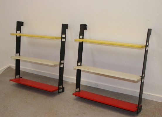 2 x Tomado Mini Wall rack / bookshelf in Yellow, White & Red