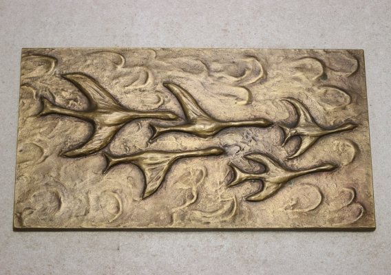 Bronze Wall plaque with flying Birds, 1970s