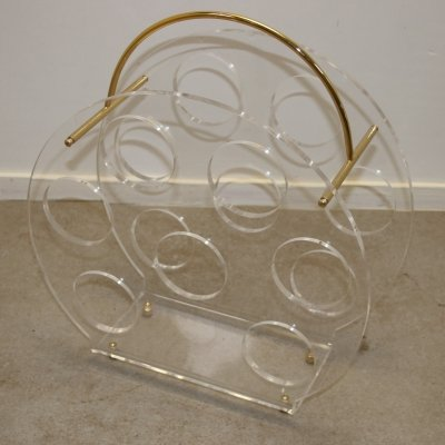 Plexiglass Lucite Wine Rack / Bottle Rack, 1980s