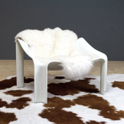 Pierre Paulin for Artifort F300 lounge chair with sheepskin, 1967