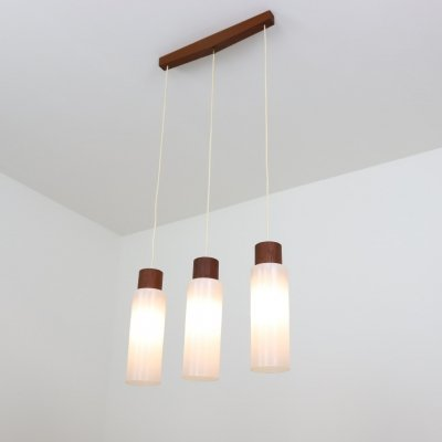 Scandinavian pendant light in teak & glass, 1960s
