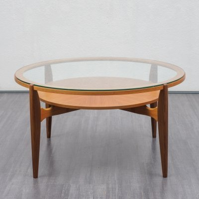 1960s coffee table in glass & teak