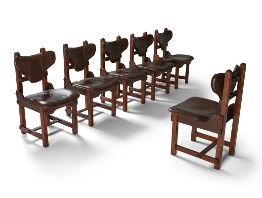 Set of 6 Oak & Leather Brutalist Chairs, 1970s