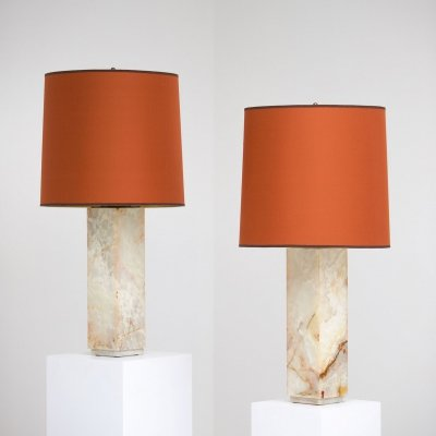 Pair of decorative mid century marble table lamps, 1970s