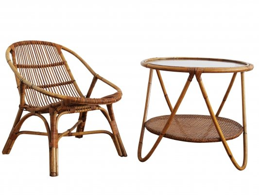 1960's set of Rattan Armchair & Side Table