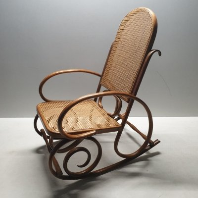 Mid-century bentwood & webbing rocking chair by Thonet, 1930s