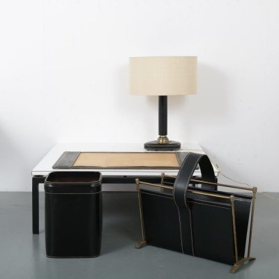 Leather & brass Office set, France 1960