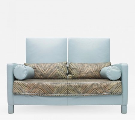 Rare Light Blue Leather Sofa Loveseat 'Negresco' by Wolfgang Setz for Knoll, 1989