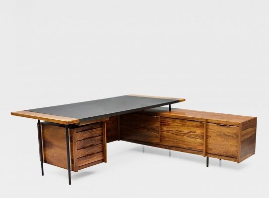 Rosewood Desk with Sideboard by Sven Ivar Dysthe, Norway 1960s