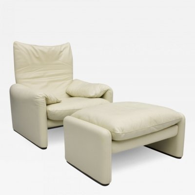Cream White Leather 'Maralunga' Lounge Chair by Vico Magistretti for Cassina, 1973