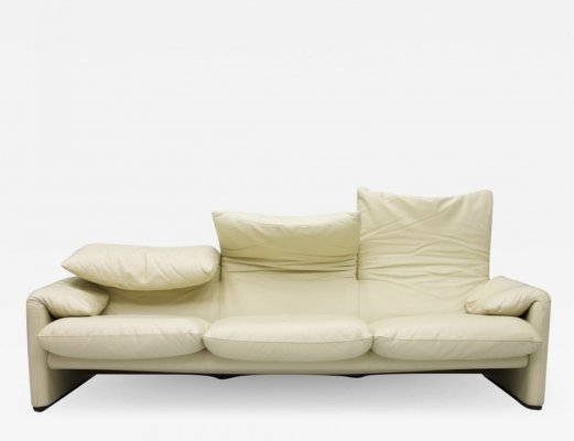 Cream White Leather 'Maralunga' Sofa by Vico Magistretti for Cassina, 1973