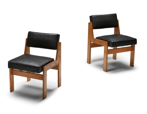 Wim den Boon easy chairs in oak & original vinyl, 1950's