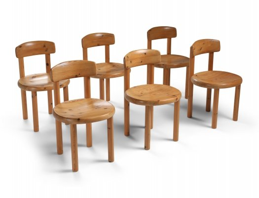 Set of six dining chairs in pine by Rainer Daumiller, 1970's