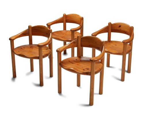 Set of 4 armchairs in pine by Rainer Daumiller, 1970s