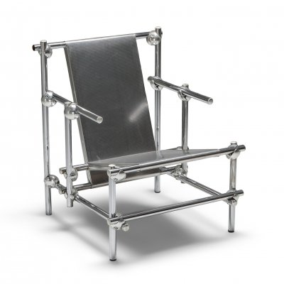 Postmodern Rietveld Style Chromed Metal Lounge Chair marked 'Longin 0117', 1970's