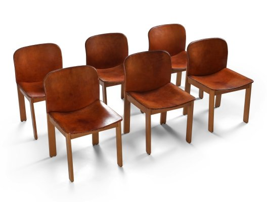 Set of 6 Cognac Leather Dining Chairs by Afra & Tobia Scarpa, 1970's