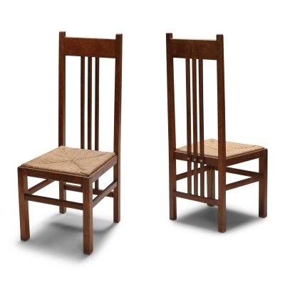 Dutch Modernist High Back Chairs with Cord Seating, 1920's