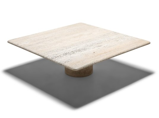 Travertine Coffee Table by Angelo Mangiarotti, 1970's