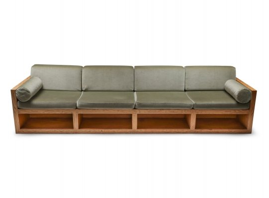 Mid-century modern sofa in pitch pine & velvet, 1960's