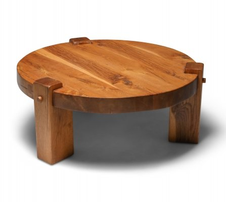 Rustic modern coffee table in solid oak, 1960's