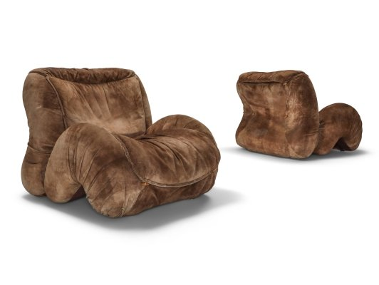 Suede pair of lounge chairs by Luciano Frigerio, 1970's