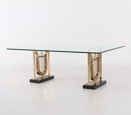 Gilted lyres Italian coffee table by Sigma, 1980s