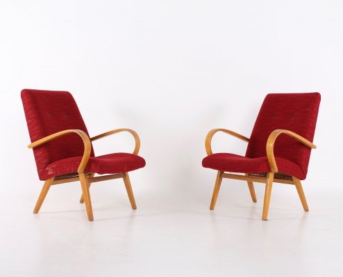 Pair of red armchairs, 1950's