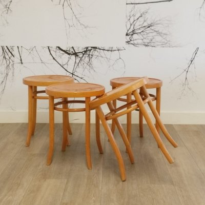 Set of 4 Beech Bentwood Stools from Ligna, 1960s