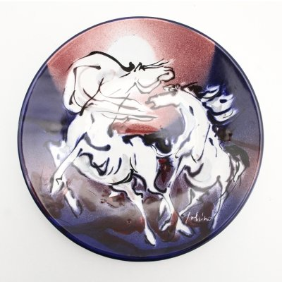 Ceramic 'horses' wall dish by Eliseo Salino made in San Giorgio Albisola, 1970s