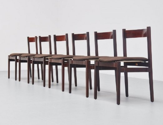 Set of 6 rosewood 'Model 104' chairs by Gianfranco Frattini for Cassina, 1960s