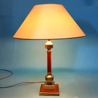 Hollywood regency brass & velvet table lamp, 1970s
