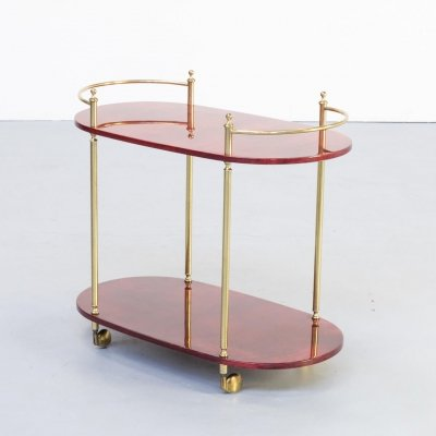 60s Aldo Tura goatskin serving trolley for Tura Milano