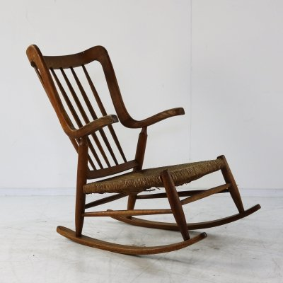 Organic oak rocking chair, 1960s