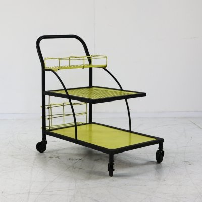 Yellow & black metal serving trolley, 1960s