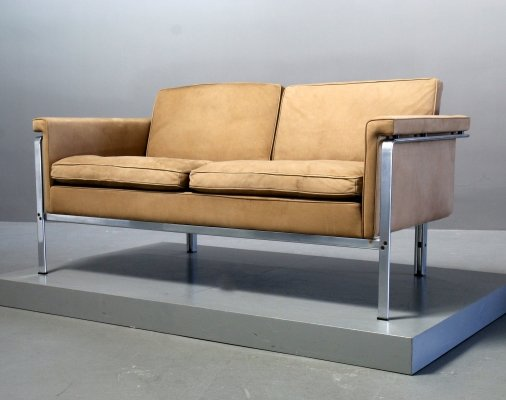 Suede & Steel Model 6912 Sofa by Horst Brüning for Kill International, Germany 1980s