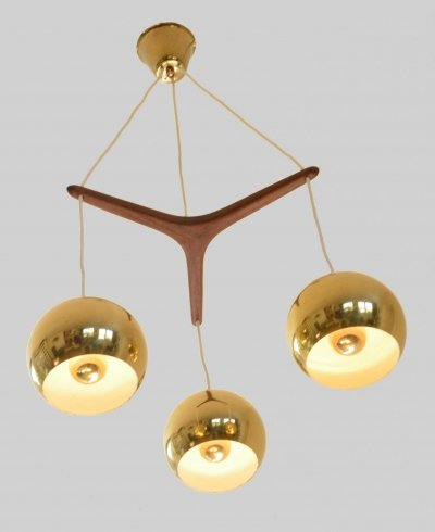 Scandinavian hanging lamp in brass & teak, 1960s