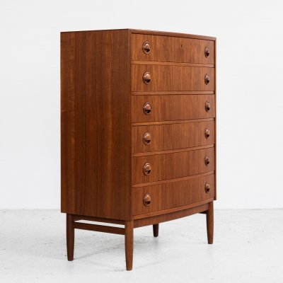 Danish Midcentury chest of 6 drawers in teak with bowed front by Kai Kristiansen, 1960s