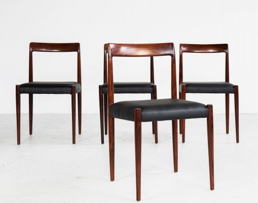 Midcentury set of 4 Lübke dining chairs in rosewood & black skai, 1960s