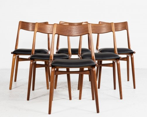 Midcentury set of 6 Boomerang dining chairs by Alfred Christensen for Slagelse