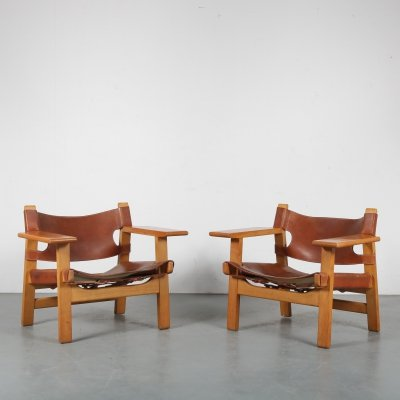 Pair of 'Spanish Chairs' by Børge Mogensen for Fredericia, Denmark 1960