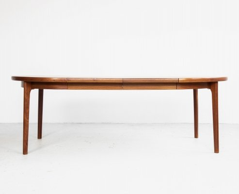 Midcentury Danish round dining table in teak with 2 extensions, 1960s