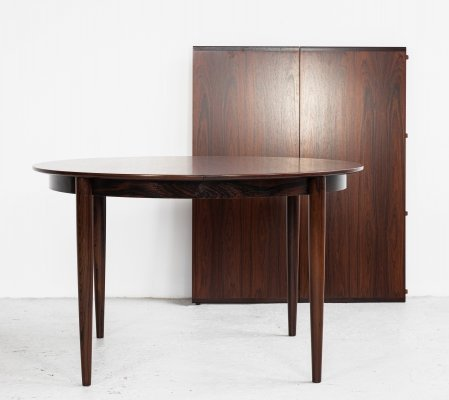 Midcentury Danish extendable round dining table in rosewood, 1960s