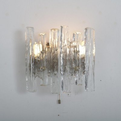 Iced glass wall lamp by J.T. Kalmar for Kalmar, 1970s