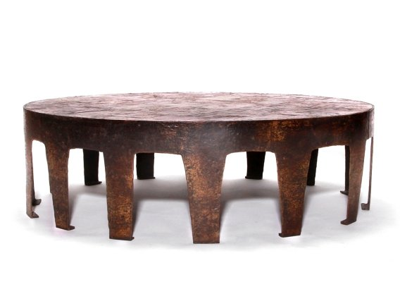 Jules Dewaele for Pia Manu Belgian Handmade Round Coffee Table With Nature Stone Mosaic Table Top