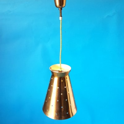Brass mid century pendant lamp by Hillebrand, Germany 1960s