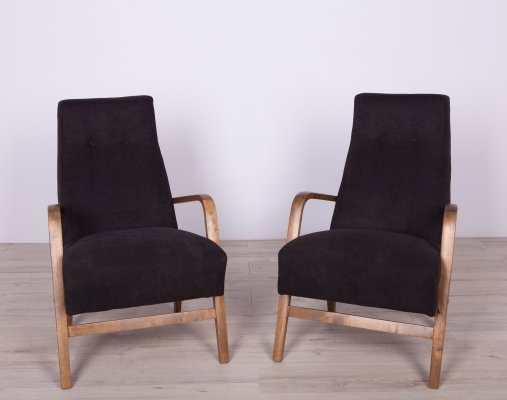 Pair of Black Polish Armchairs, 1960s