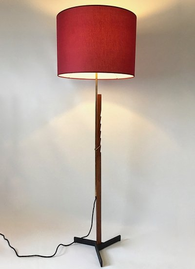 Adjustable teak & brass floor lamp by Svend Aage Holm Sørensen, 50s