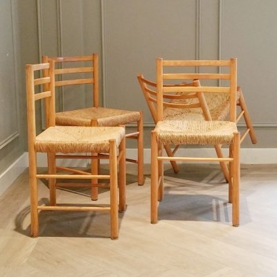 Set of 4 Wood & Rush Dining Chairs, 1960s