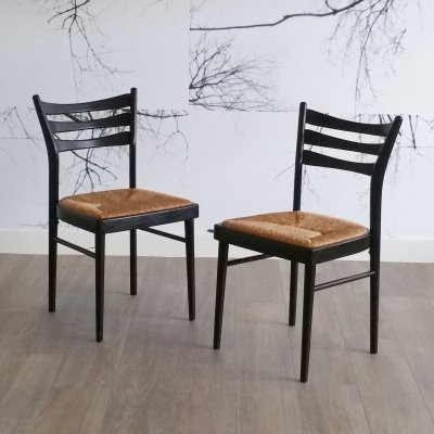 Set of 2 Black Dining Chairs with Rush Seat, 1970s