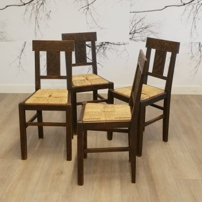 Set of 4 Moorish Style Dining Chairs with Rope Seat, 1950s